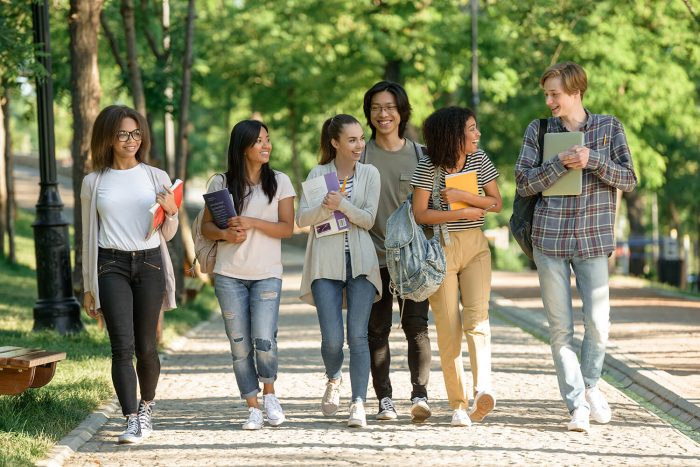 international students walking